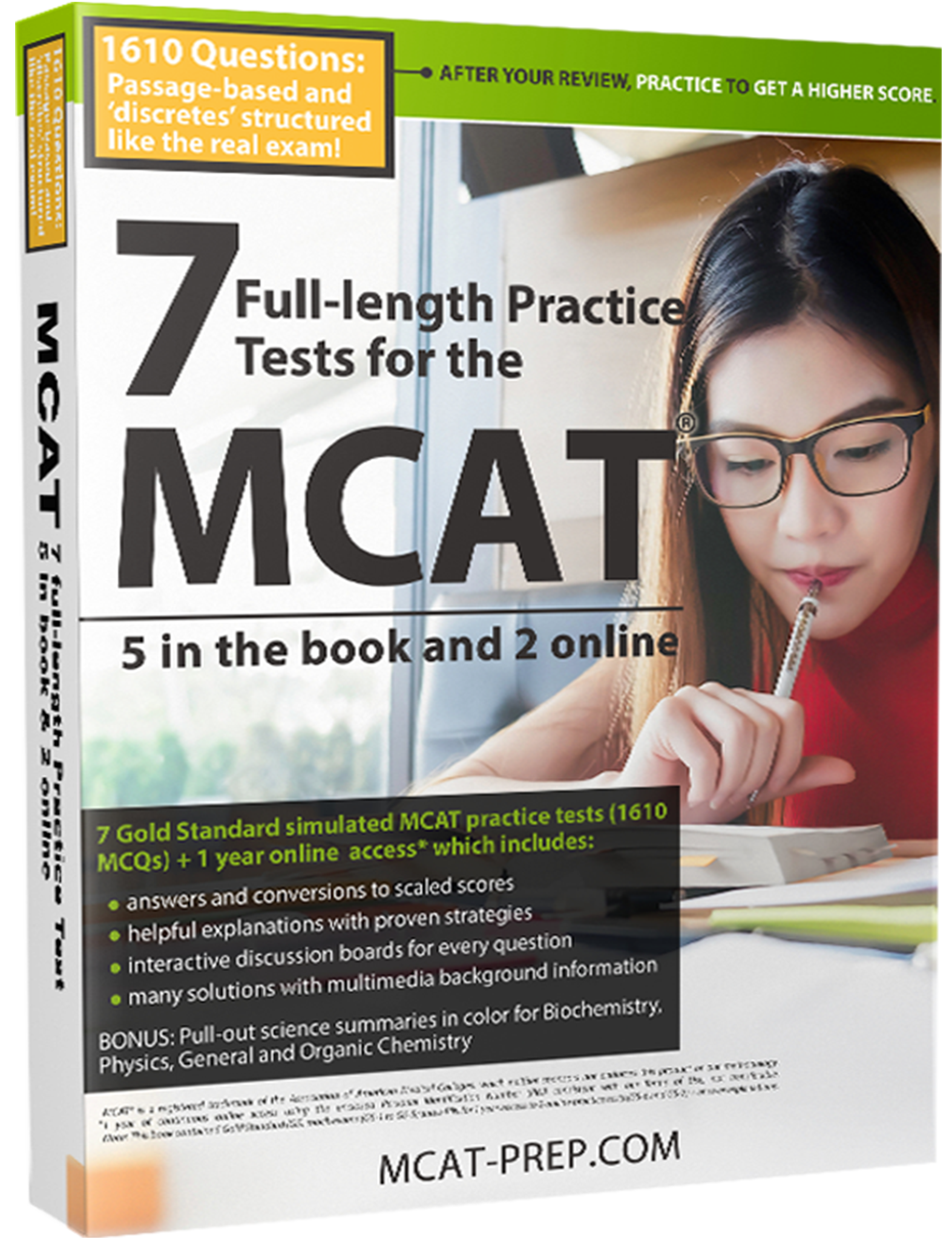 MCAT book with full-length MCAT practice tests